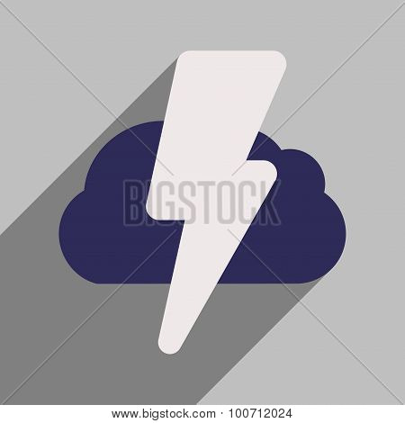 Flat with shadow icon and mobile application lightning cloud