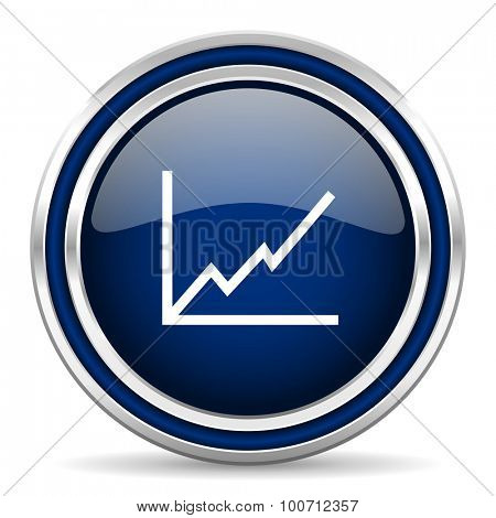 chart blue glossy web icon modern computer design with double metallic silver border on white background with shadow for web and mobile app round internet button for business usage
