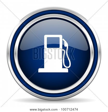 petrol blue glossy web icon modern computer design with double metallic silver border on white background with shadow for web and mobile app round internet button for business usage