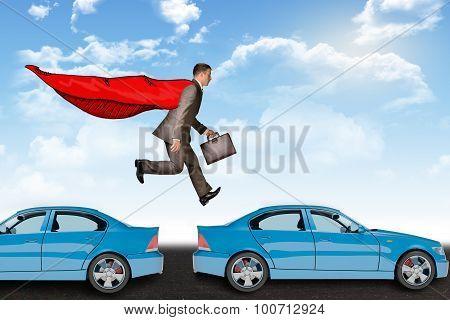Businessman hopping cars