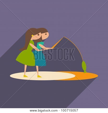 Flat with shadow icon and mobile application sisters