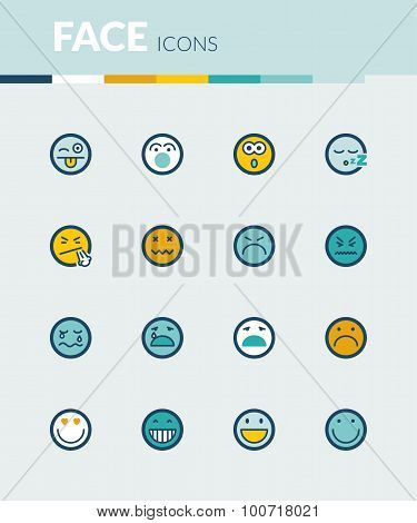 Face  Colorful Flat Icons