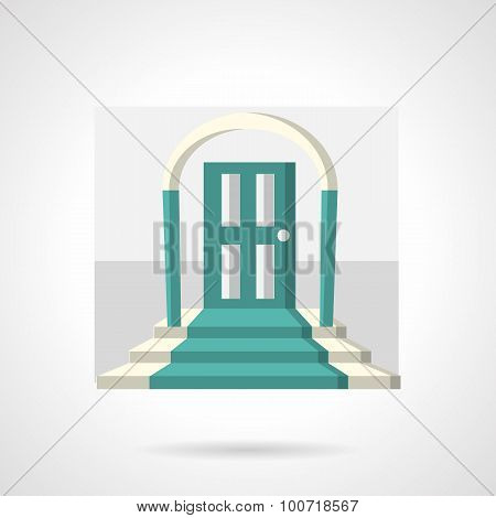 Entrance with arch flat vector icon