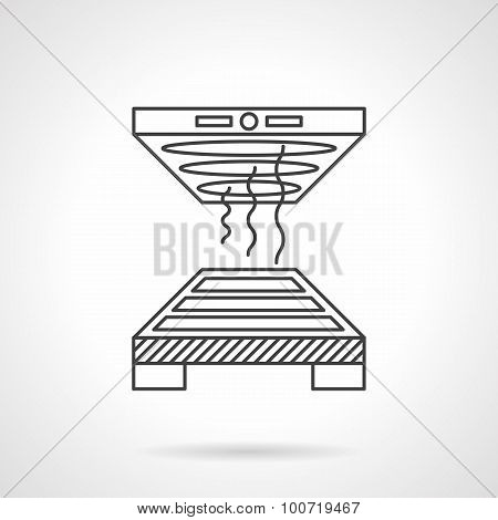 Industrial oven flat line vector icon.