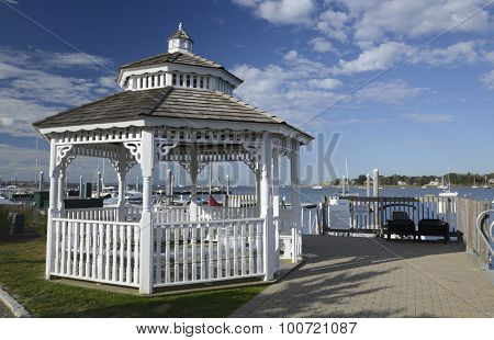 White Gazebo By A Harbor In The Early Morning