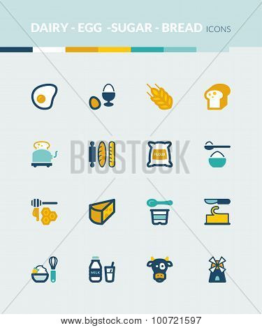 Dairy Egg Bread Sugar Colorful Flat Icons