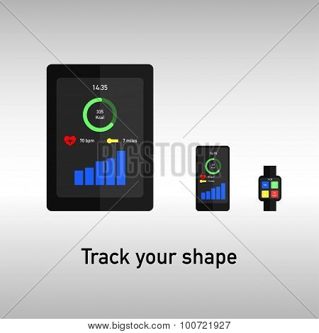 Tablet, phone and watch for fitness tracking