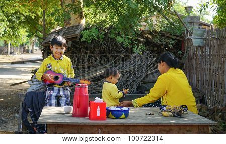 Local family in the recently opened to foreigners area of Chin State