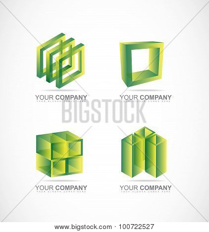 Green Square Cube Box Logo Icon Set