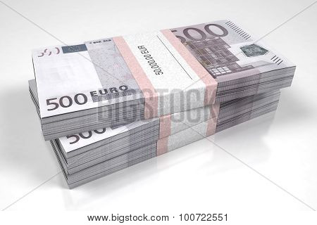 Three packets of 500 Euro bills