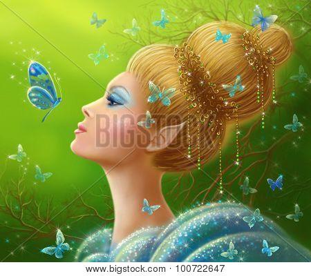 Magic butterflies Fantasy beauty woman fairy