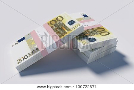 Four packets of 200 Euro bills