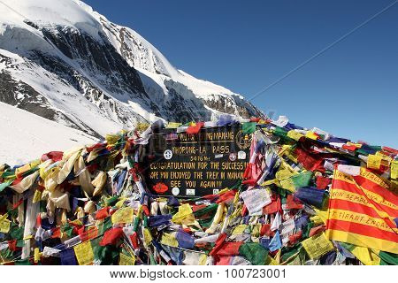 Tibetan Flags At Thorong La Mountain Pass