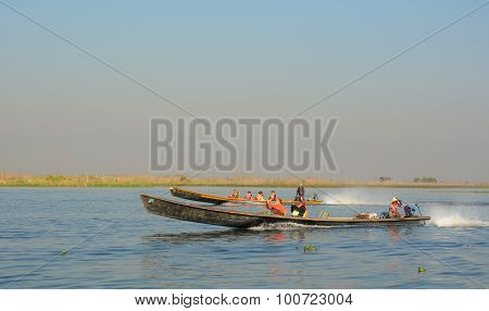 Tourists On Motorboat Visit At Inle Lake