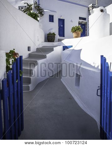 Blue gates and white buildings, Santorini