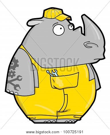 Funny Cartoon Rhino Locksmith