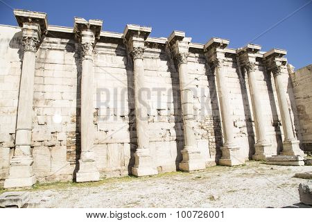 Remains Of Hadrian Library In Athens