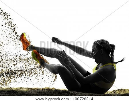 one woman practicing Long Jump silhouette in studio silhouette isolated on white background