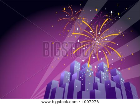 Fireworks Over A City Skyline-Horizontal