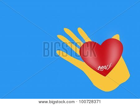 Hand With Heart On Blue With Space For Text