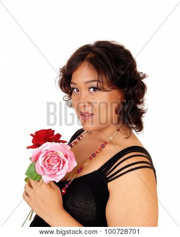 Asian Woman Holding Two Rose.