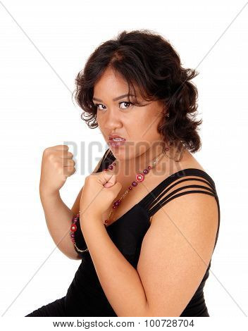Angry Woman Ready For Fist Fight.