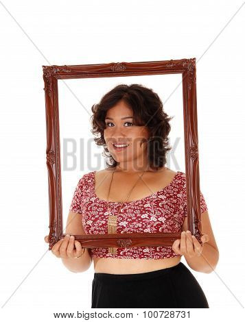 Lovely Woman Holding Picture Frame.
