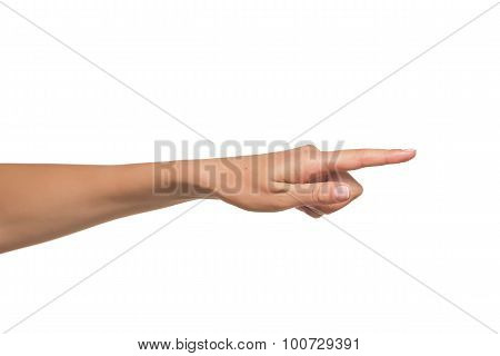 Human hand point with finger