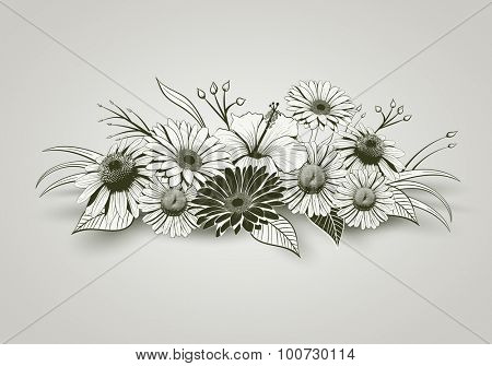 Vintage hand drawn flowers. Elements are layered separately in vector file. Global colors.