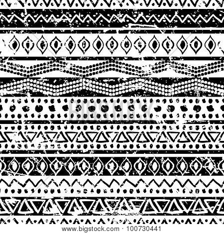 Vector Ethnic Seamless Pattern. Hand Drawn Tribal Striped Ornament. Black And White Grunge Texture.