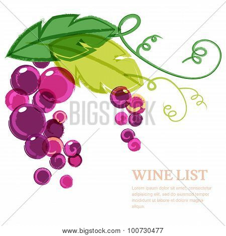Branch Of Pink Grape With Green Leaves. Abstract Vector Watercolor Background Design Template With P