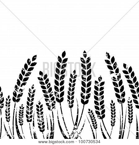 Vector Seamless Horizontal Background With Isolated Ear Of Wheat.