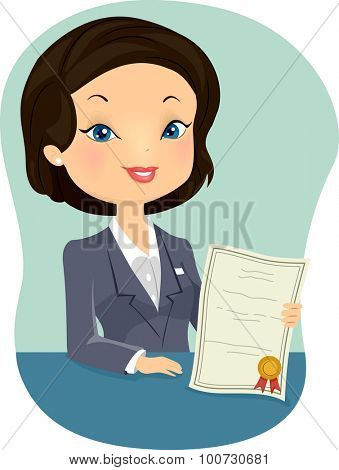 Illustration of a Female Insurance Agent Holding a Certificate