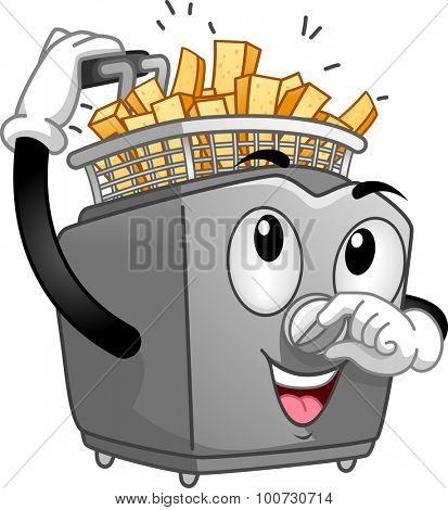 Mascot Illustration of a Deep Fryer Frying Potato Sticks