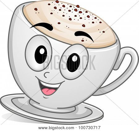 Mascot Illustration of a Cup of Cappuccino Coffee Overflowing with Foam