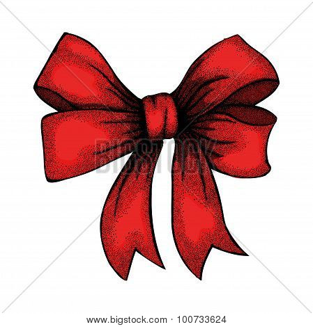 Beautiful Ribbon Tied In A Bow. Freehand Drawing In Graphic Style Pen And Ink