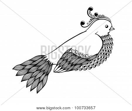 Beautiful Abstract Black-and-white Bird In Floral Style