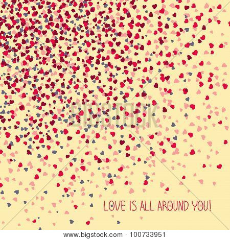 'Love is all around you!' Greeting Card. Copy space for text.