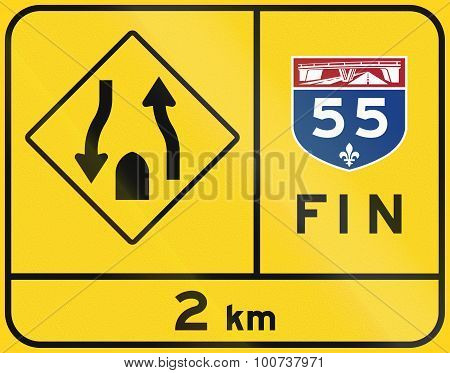 End Of Quebec Highway And Divided Road