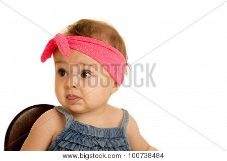 Beautiful Baby Girl Wearing A Pink Polka-dot Headband