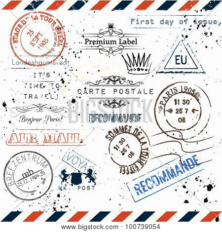 Vector Imitation Of Vintage Post Stamps Paris, Voyage Travel Vocation Theme Grunge Style