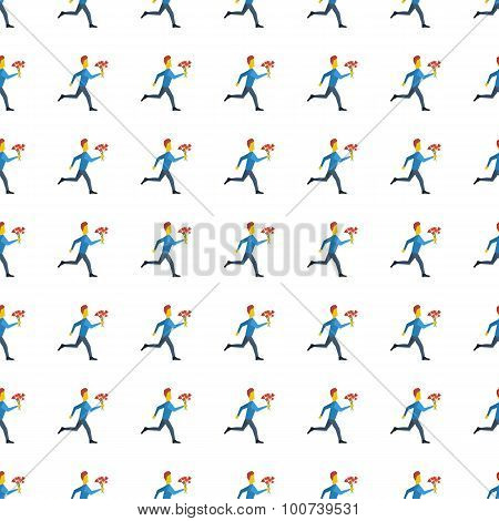Hurrying To Date Seamless Pattern. Vector