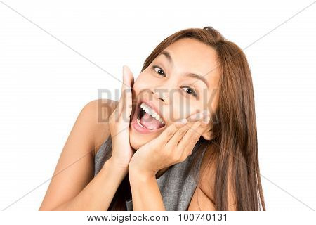 Blissful Asian Woman Portrait Reacting Good News