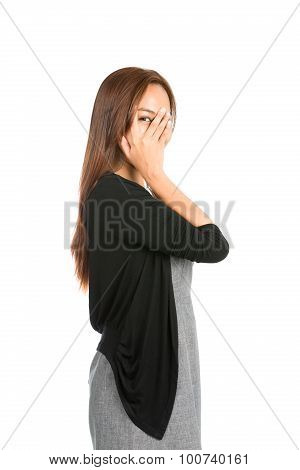Hand Covering Face Eye Peeking Finger Asian Woman