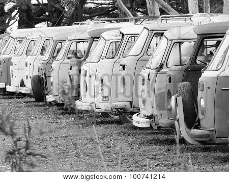 Row of defunct and run down desolate vans of all the same type