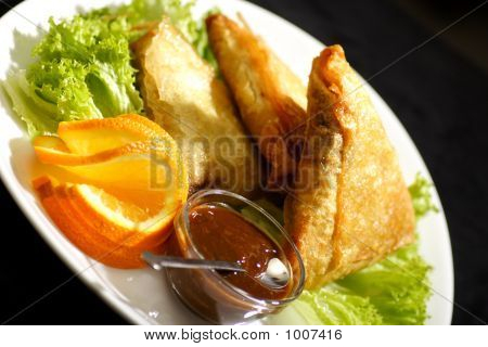 Samosa With Plum Sauce