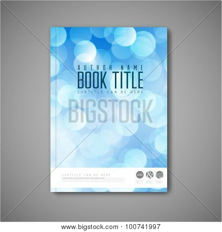 Modern Vector abstract brochure / book / flyer design template with blue bokeh effect
