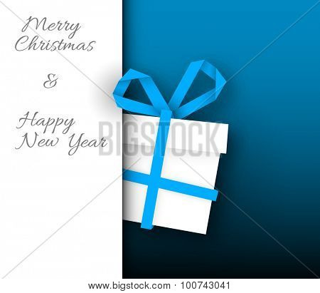 Simple vector blue christmas card with present box made from paper stripe