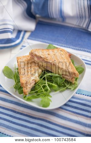 A grilled ham and swiss cheese sandwich