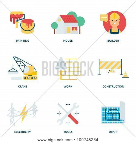 Construction Vector Icons Set Modern Flat Style